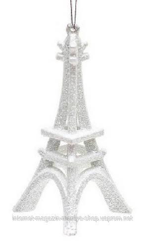 Елочнлое украшение Эйфелева Башня,13.5x6x6см, цвет- белый