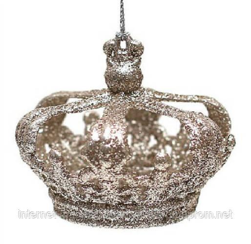 Елочное украшение Корона, 8x7см, цвет - шампань