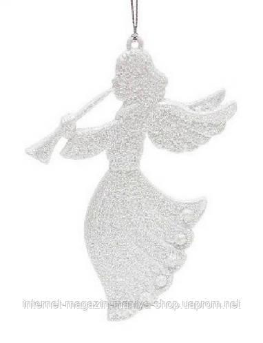 Елочное украшение Ангел, 9,5x13см, цвет белый