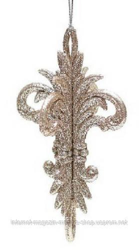 Елочное фигурное украшение,14x8см, цвет шампань