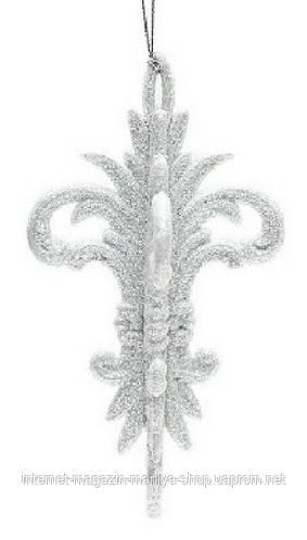 Елочное фигурное украшение,14x8см, цвет белый