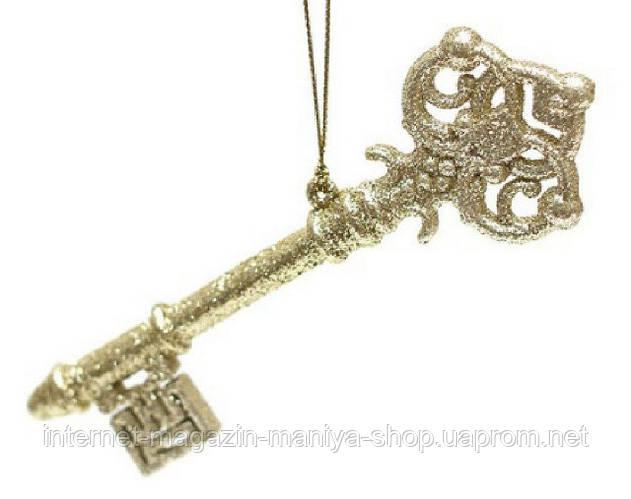 Елочное украшение Ключик, 14x4,5см цвет - золото