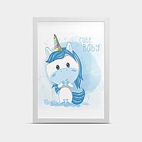 Постер на стену Единорог Голубой 20*30 см