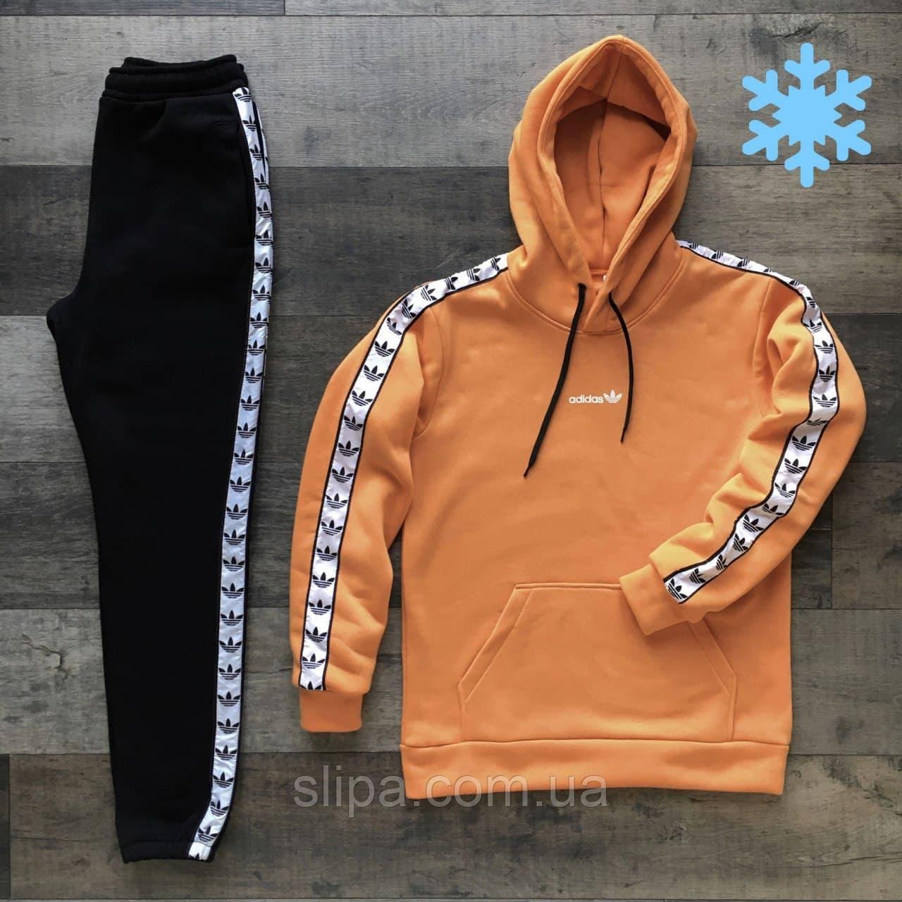 Чоловічий спортивний утеплений костюм Adidas помаранчевий з чорним