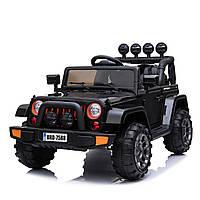 Детский электромобиль Джип черный T-7833 EVA BLACK деткам 3-8 лет с пультом мотор 2*30W батарея 12V7AH с МР3