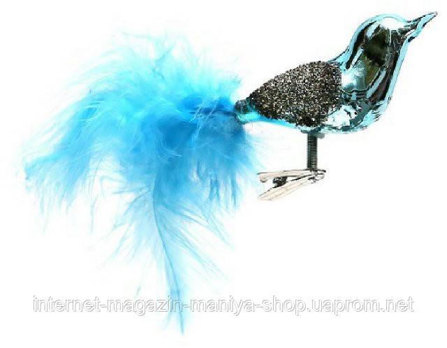 Набор елочных  игрушек - птица на прищепке (2 ), 8.5см