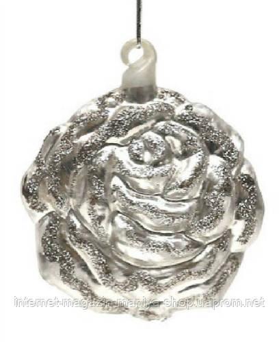 Елочная игрушка в форме розы, 10см