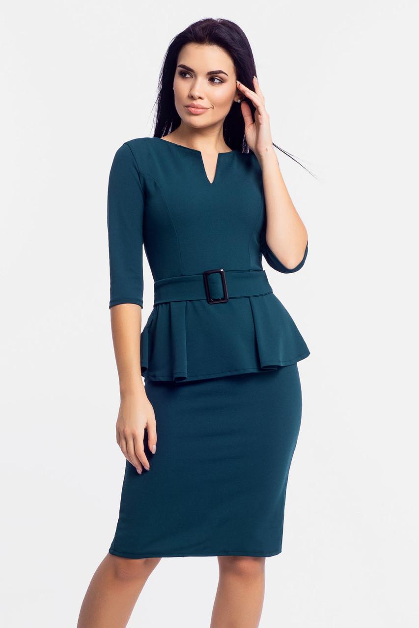 Классическое трикотажное платье Venera, темно-зеленый
