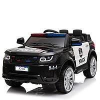 Детский электромобиль полицейский Джип черный JC002 EVA BLACK деткам 3-8 лет с пультом мотор 2*30W с МР3
