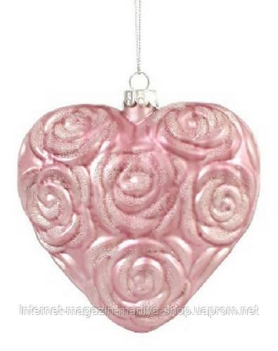 Елочная игрушка в форме сердца, 12см