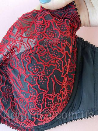 90G Червоно чорний мереживний бюстгальтер великих розмірів, бюстгальтер на кісточках, фото 2