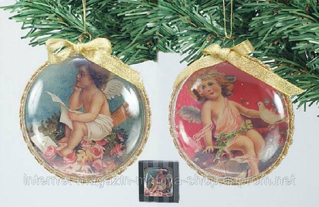Елочное украшение в форме диска Ангелы, 10см