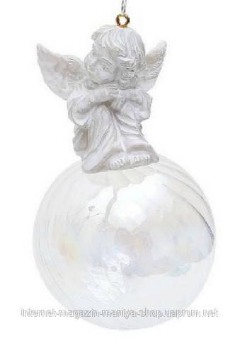 Елочное украшение шар с ангелом, 6 см