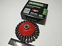 Щётка зачистная 125 мм APRO (830435) конус/стальные витки/для болгарки