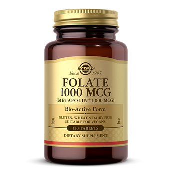 Фолієва кислота, Folate, Solgar, фолат 1000 мкг, 120 таблеток