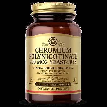 Хром без дрожжей Solgar Chromium Polynicotinate 200 mcg (100 капс) солгар