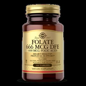 Фолієва кислота Solgar Folate 666 mcg DFE (Folic Acid 400 mcg) (100 таблеток) солгар