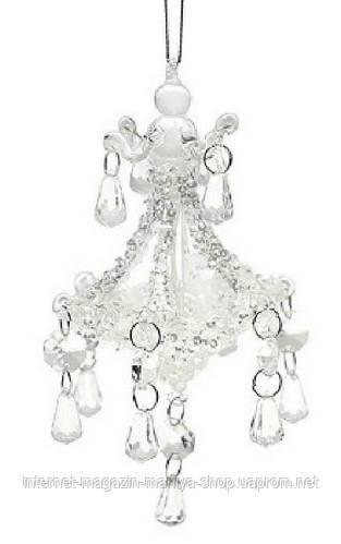 Елочное украшение - люстра, прозрачное стекло, хрусталики