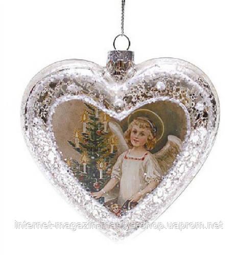 Елочное украшение сердце, античное серебро с рисунком