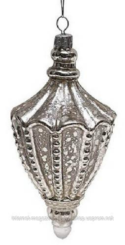 Елочное украшение 15,5см серебро антик