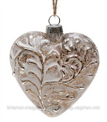 Елочное украшение  7,5см сердце антик серебро с белым