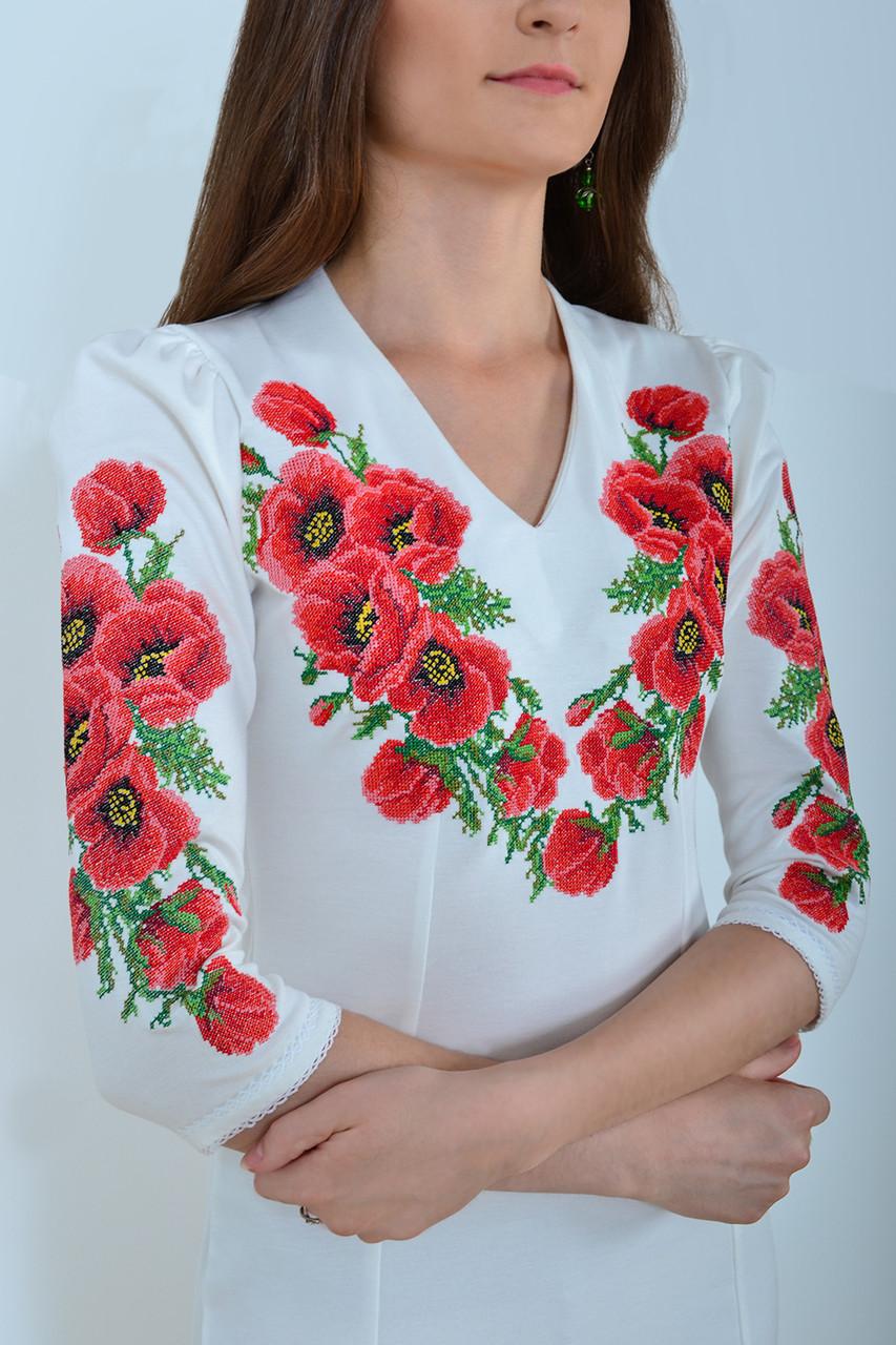 Нарядное платье приталенное в белом цвете с роскошными вышитыми маками на груди