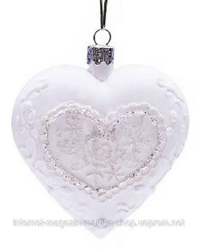 Елочное украшение 9,5см сердце белое с кружевом