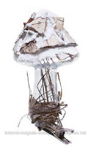 Елочное украшение на прищепке  - гриб с декором из природных материалов