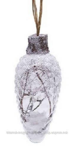 Елочное украшение - шишка с декором из природных материалов