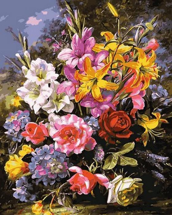 Картина малювання за номерами Mariposa Букет роз и лилий MR-Q2149 40х50 см Цветы, букеты, натюрморты набор для росписи краски,