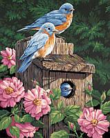 Алмазна мозаїка Пташиний будинок в пионах 40х50см DM-117 Повна зашивання. Набір алмазної вишивки