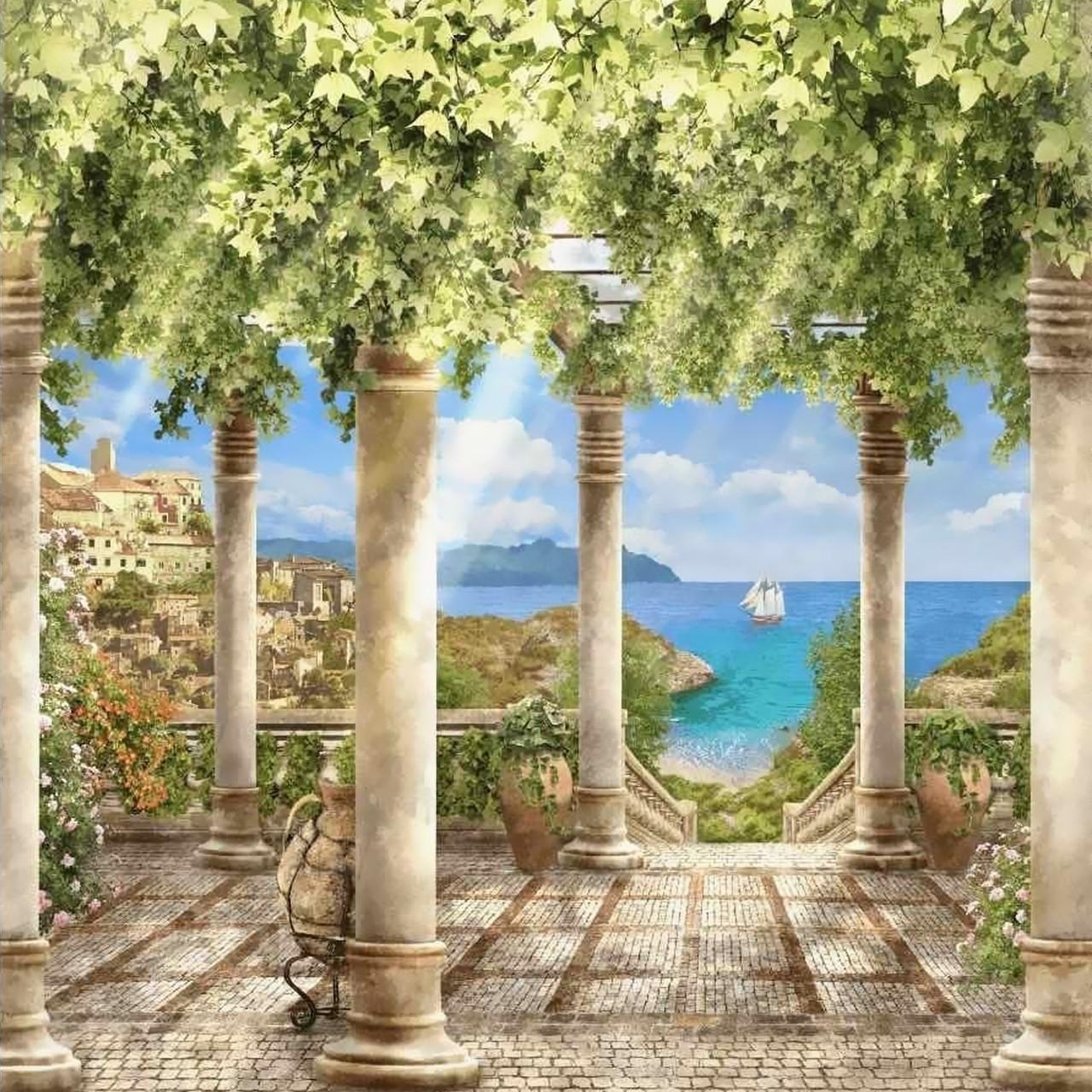 Алмазна мозаїка Грецький острів 40х40см DM-090 Повна зашивання. Набір алмазної вишивки