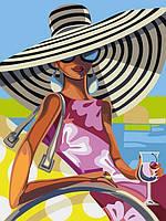 Алмазна мозаїка Дівчина з коктейлем DM-343 30х40см Повна зашивання. Набір алмазної вишивки люди портрет