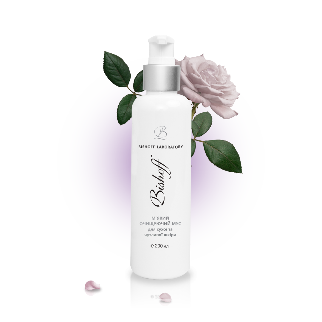 Мус Bishoff М'який очищуючий для сухої та чутливої шкіри з білою трояндою 200 мл G3/200