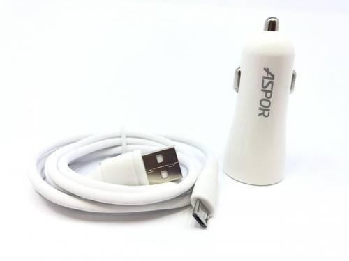 АЗП Aspor - A902C iPhone 5/6 (2USB/2.4A) + кабель LED білий