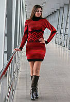 Вязаное красное платье в полоску Strips