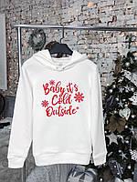 Зимний женский белый худи с новогодним принтом до -25*С | Толстовка Кофта теплая ЛЮКС качества