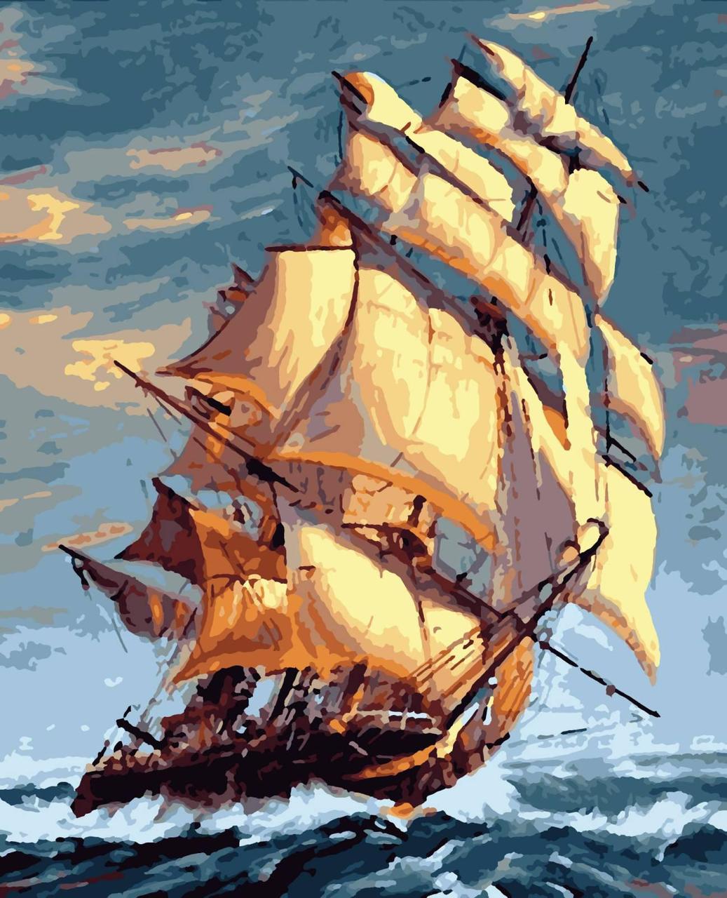 Картина рисование по номерам На всіх вітрилах PNX5405 Artissimo 50х60см розпис за номерами набір, фарби,