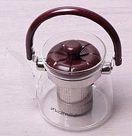 Чайник с ситом (стекло,пластик) 600мл KAMILLE