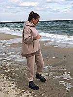 Теплый женский спортивный костюм оверсайз турецкий футер трехнитка с начесом с внутренними карманами бежевый, фото 1