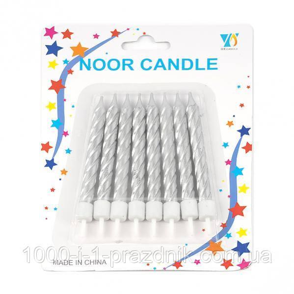 Набір свічок збільшених срібло