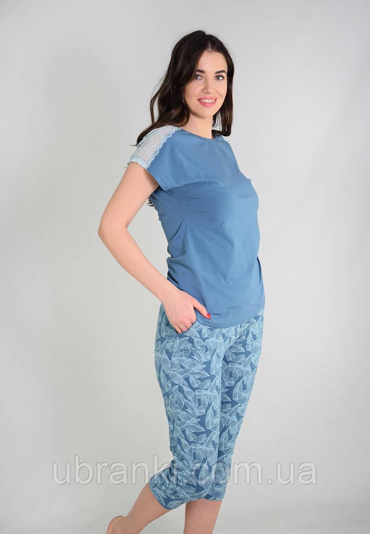 Женский домашний комплект большых розмеров (футболка, бриджы)