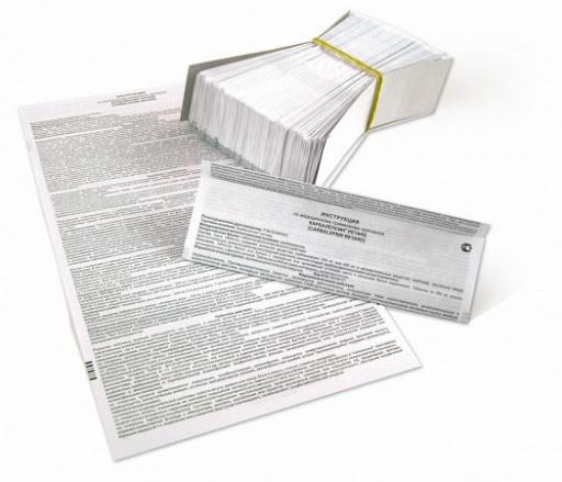 Бумага для печати медицинских и косметических инструкций-вкладышей