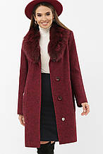 Зимнее пальто женское с мехом бордовое MS-191 Z