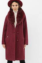 Пальто женское зимнее с мехом бордовое MS-207 Z