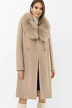 Зимнее женское пальто с мехом бежевое MS-255 Z