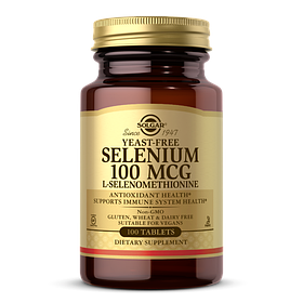 Селен без Дріжджів L-Селенометианин, 100 мкг, Solgar, 100 таблеток