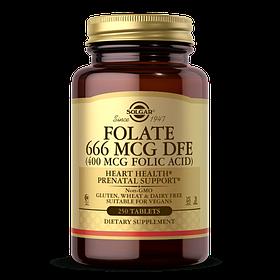 Фолієва кислота Solgar Folate 666 mcg DFE (Folic Acid 400 mcg) (250 таб) солгар