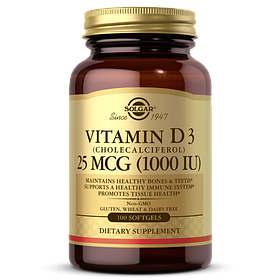 Витамин д3 Solgar Vitamin D3 1000 IU (100 капс) солгар