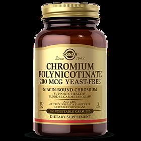 Хром без дріжджів Solgar Chromium Polynicotinate 200 mcg (100 капс) солгар